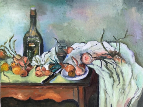 Cezanne Stilll Life with Wine and Vegetables