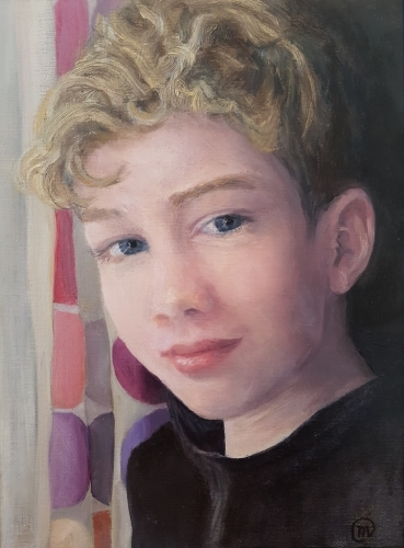 'Humouring Me'  Winner of the SPWMO 2020 Amateur 'Portrait' painting category