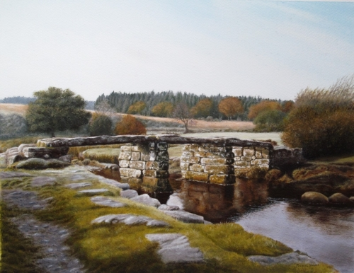 Clapper Bridge in Frost - oil on paper