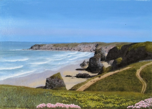 Bedruthan Steps from a photograph by Julie Taylor
