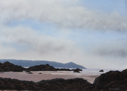 'Whitesand Bay to Rame Head' oil on paper