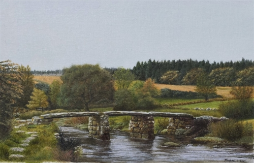 Clapper Bridge, Postbridge - oil on board