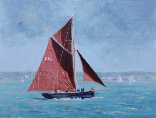 'Old Gaffer on the Solent'  Winner of the 2020 SPWMO 'Seascape' painting competition amateur category