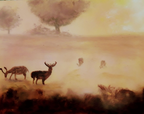 Deer Grazing through Early Morning Autumnal  Mists