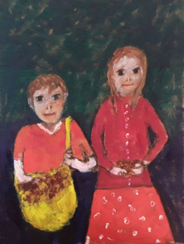Millie and Benji with their Conker Haul (in the style of Joan Eardley)